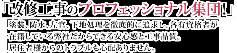 改修工事のプロフェッショナル集団!