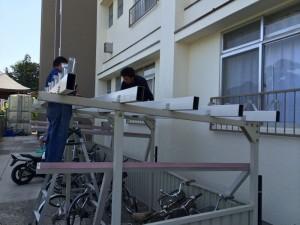 自転車小屋屋根工事