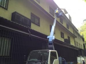 東面外壁施工中
