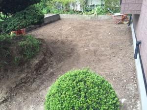 西側の庭根切り後