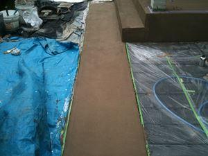 スロープ部ベース材下塗り後