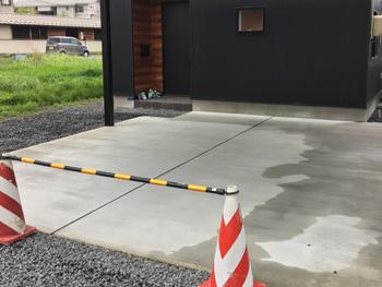 山形県上山市K様邸|重厚感のあるカーポート土間コンクリート打設
