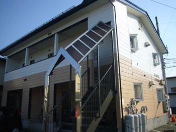 山形県山形市|Mアパート、金属サイディング外壁塗装工事