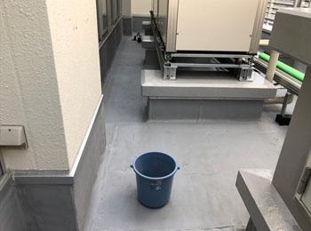 アスファルト防水+機械架台のウレタン防水完了