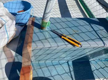 フェンス架台補強張り